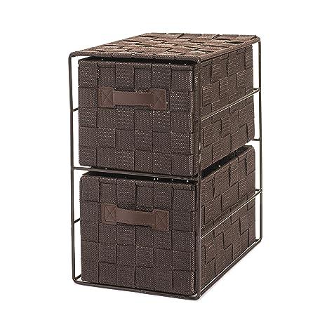 OC ORDEN EN CASA Y MUCHO MAS Cajonera entrelazada con 2 cajones, Chocolate