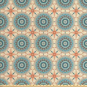 Lunarable Tribal Fabric by The Yard, Abstract Style Background Flower Pattern Mystical Print, Decorative Fabric for Upholstery and Home Accents, 1 Yard, Orange Aqua