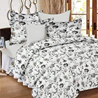 Ahmedabad Cotton Aspire 180 TC Sateen Double Bedsheet with 2 Pillow Covers, Multicolour