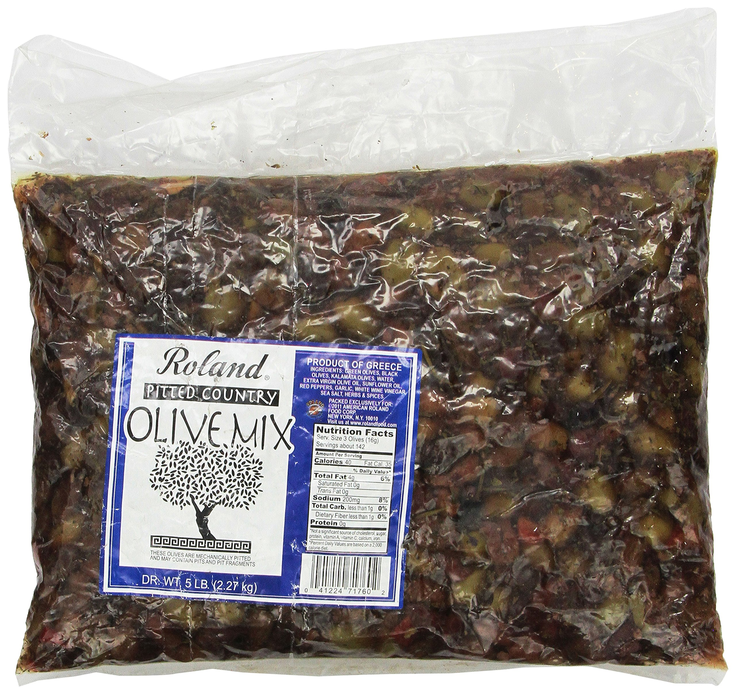 Roland Olives, Pitted Greek Country Mix, 5 Pound by Roland
