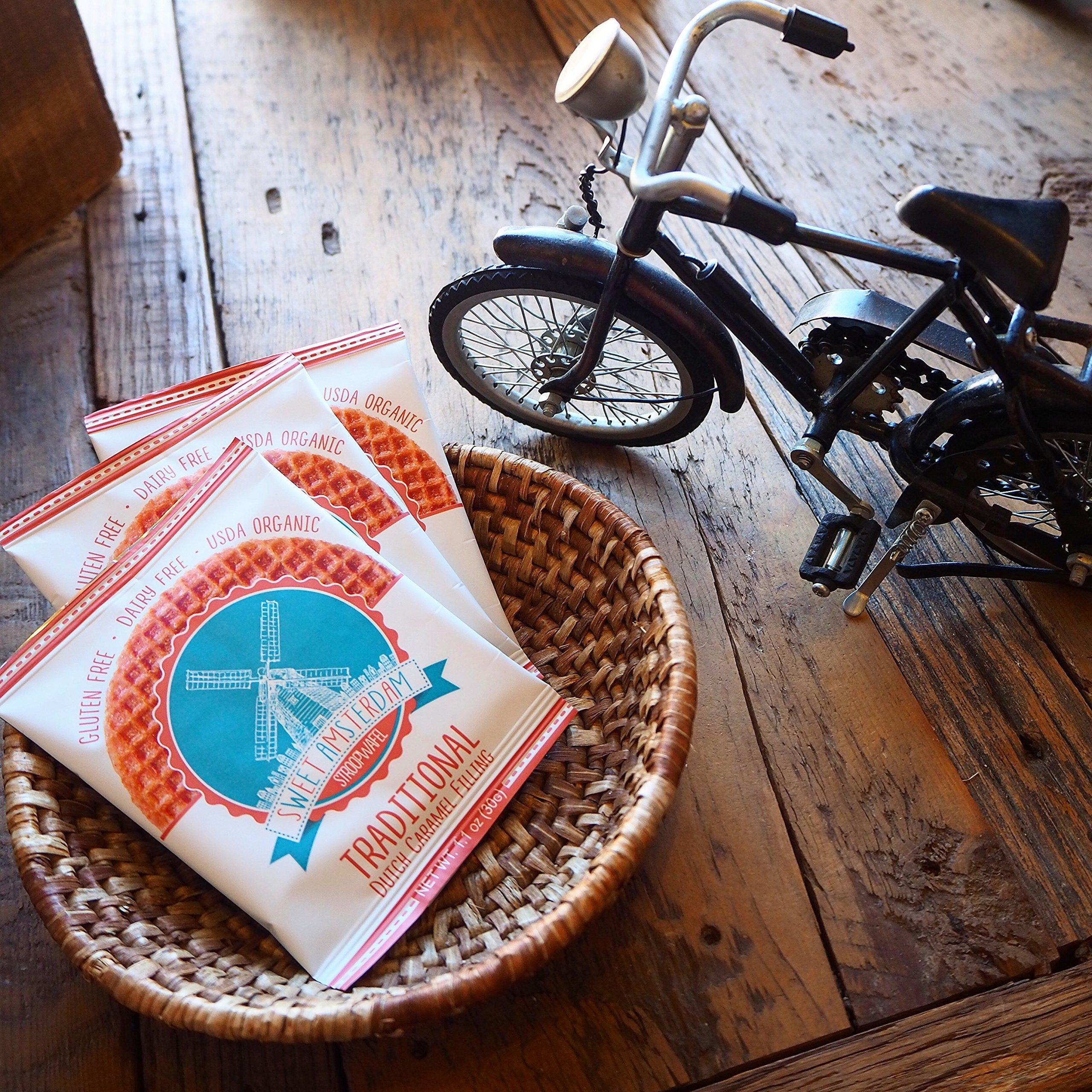 Sweet Amsterdam Organic & Gluten Free Stroopwafel Snacks, Caramel, 12 Count by Sweet Amsterdam