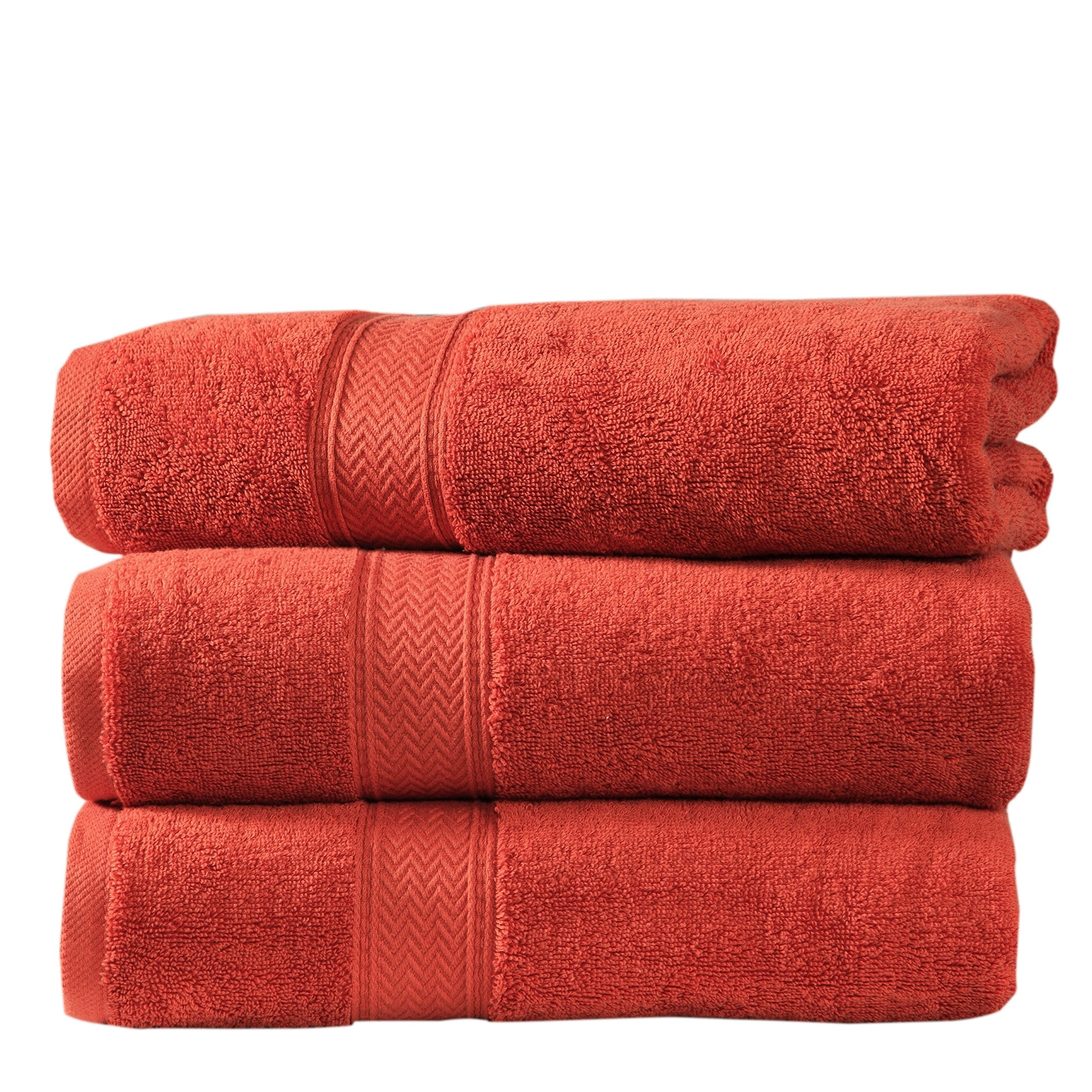 N2 3 Piece Large Oversized Rust Orange Chevron Pattern Bath Towel Set, Dobby Solid Color Oversize Bathroom Sheets Soft Spa Hotel Luxury Design Vanity Plush Low Twist Yarn Beach, Cotton