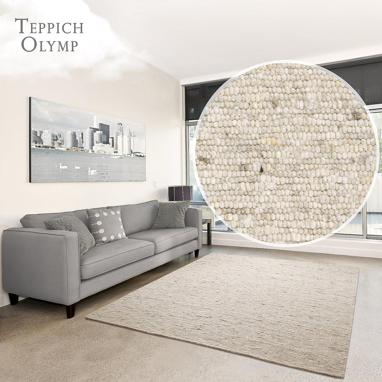 Hand-Web-Teppich Amrum   Handgewebte Schurwolle im modernen Design   Fürs Wohnzimmer, Esszimmer, Schlafzimmer oder Kinderzimmer   weich, Mehrfarbig (Grau-Beige - 200 x 200 cm)