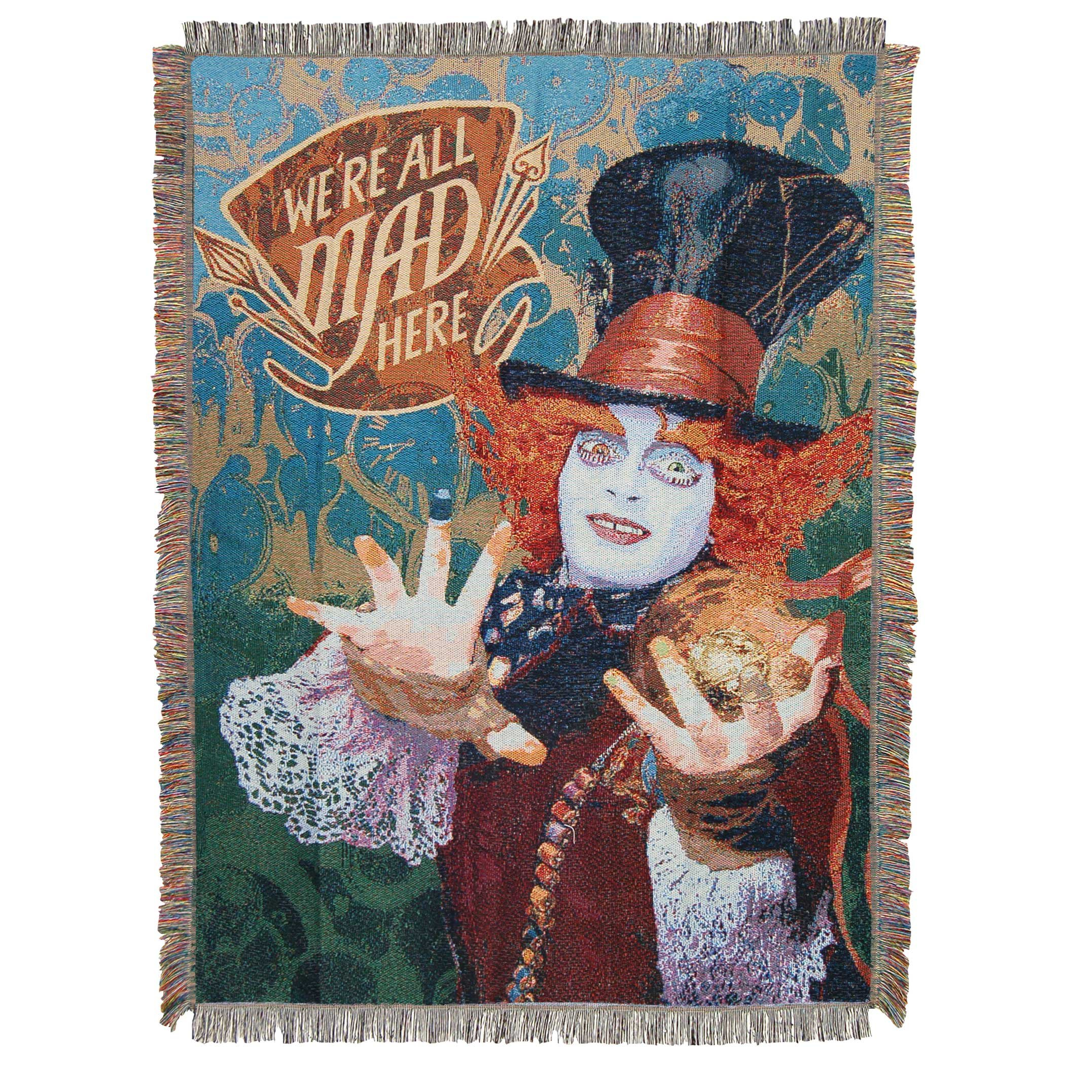 Disney's Alice in Wonderland, ''The Hatter's Mad'' Woven Tapestry Throw Blanket, 48'' x 60'', Multi Color by Disney