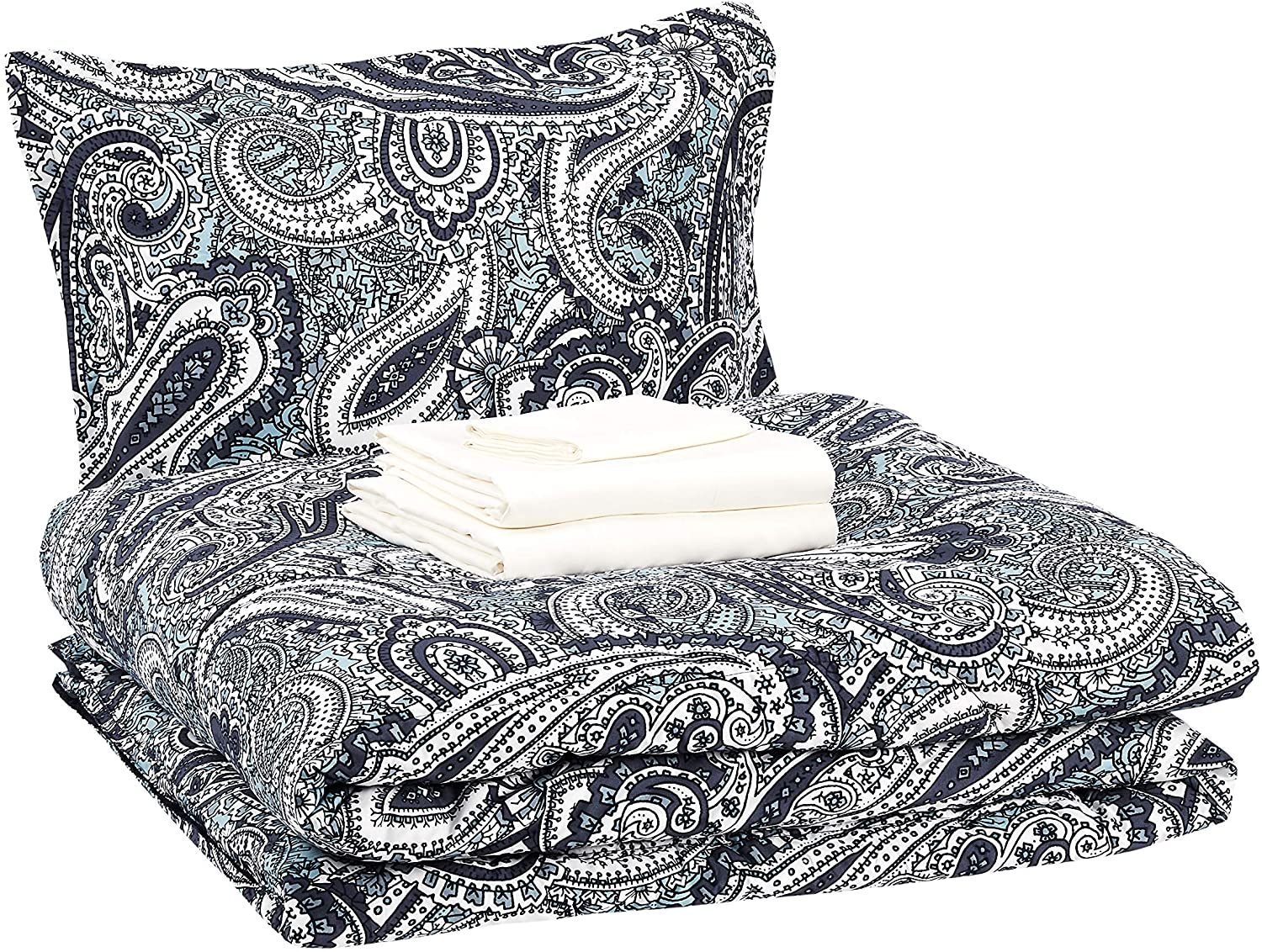 AmazonBasics 6-Piece Comforter Bedding Set, Twin / Twin XL, Blue Paisley, Microfiber, Ultra-Soft