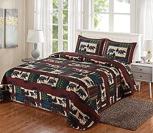 "LL Home Patchwork Bear Quilt Bedding Set, King Size (108""x90"")"