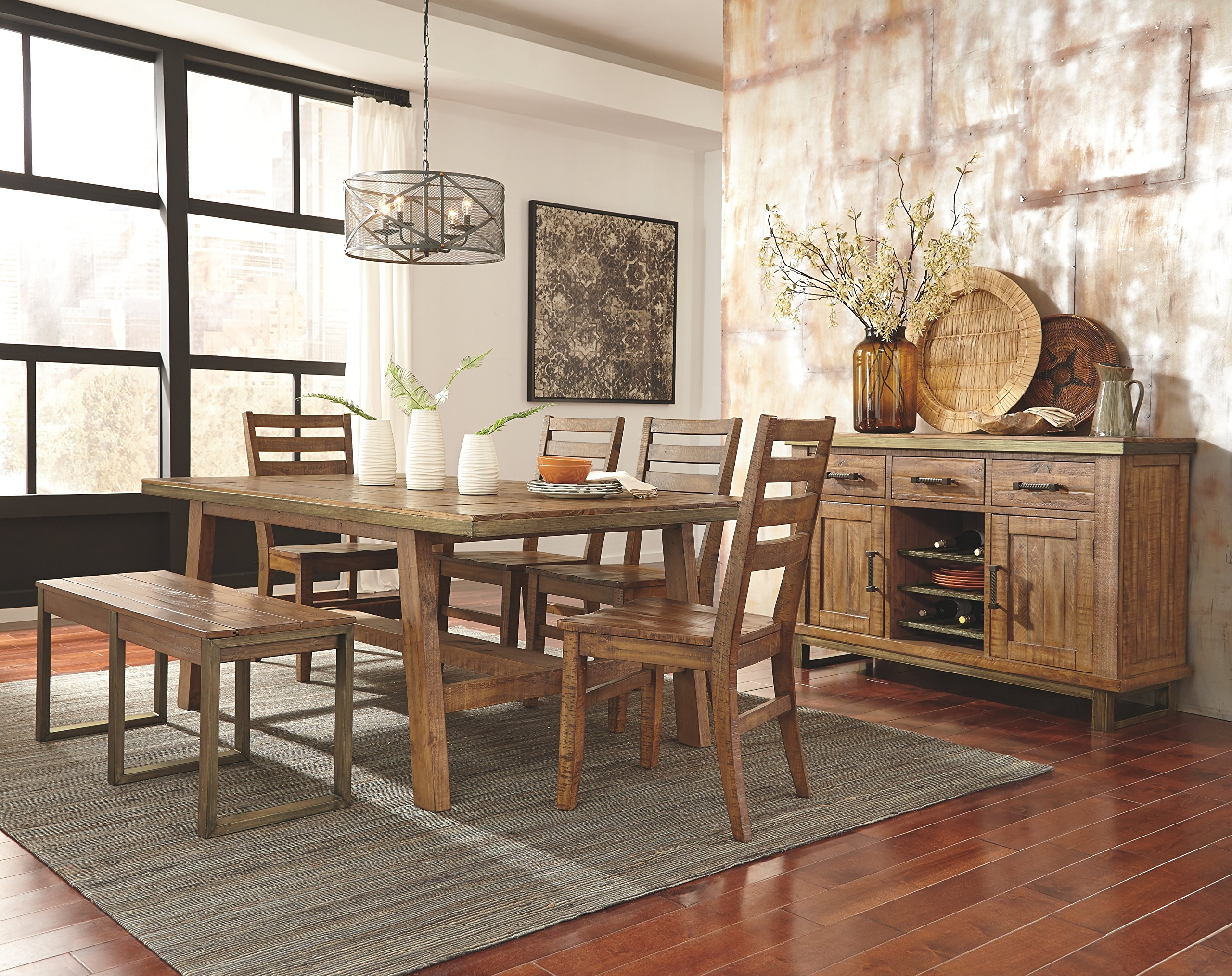 Ashley Furniture Signature Design - Dondie Dining Room Bench - Solid Pine Wood with Distressed Finish - Warm Brown by Signature Design by Ashley (Image #4)