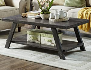 Roundhill Furniture Athens Contemporary Replicated Wood Shelf Coffee Table in Charcoal Finish