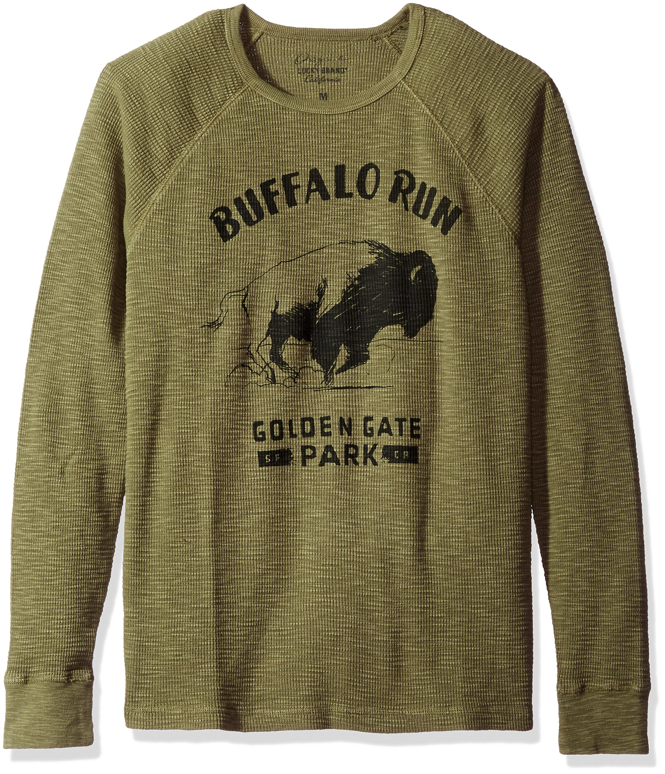 Lucky Brand Men's Buffalo Run Graphic Thermal, Burnt Olive, XX-Large