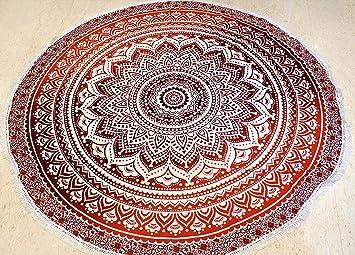 Raajsee Rnd24 Tapis Rond Indien Motif Mandala En Coton Rouge