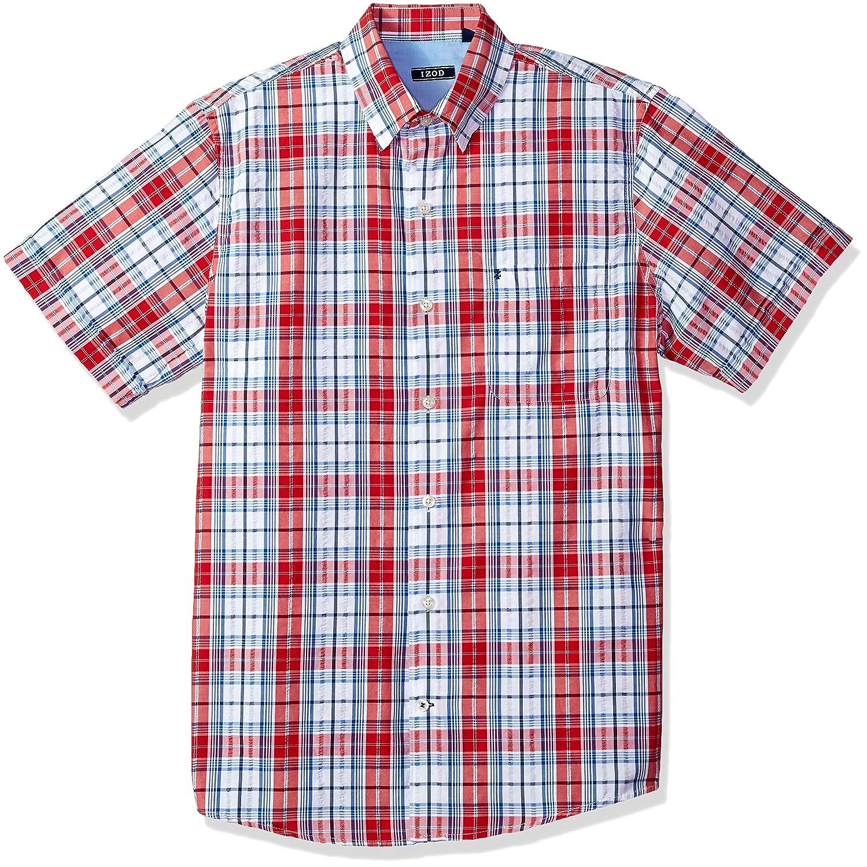 IZOD Mens Breeze Short Sleeve Button Down Plaid Seersucker Shirt
