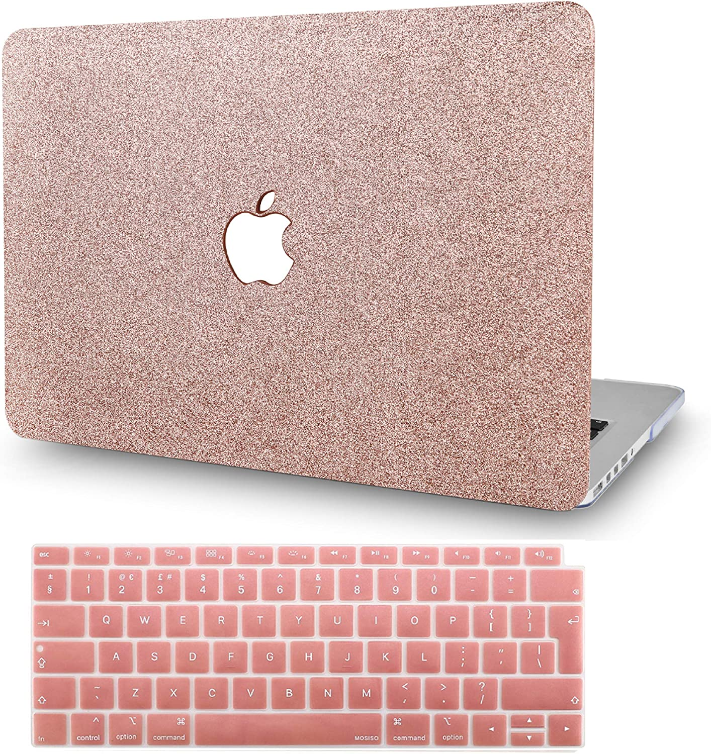"KECC Laptop Case for MacBook Air 13"" Retina (2020/2019/2018, Touch ID) w/Keyboard Cover Plastic Hard Shell Case A1932 2 in 1 Bundle (Rose Gold Sparkling)"