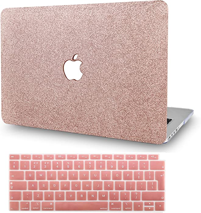 """KECC Laptop Case for Old MacBook Pro 15"""" Retina (-2015) w/Keyboard Cover Plastic Hard Shell Case A1398 2 in 1 Bundle (Rose Gold Sparkling)"""