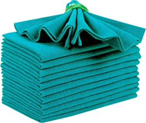 Everyday Cloth Napkin in 100% Cotton 18x18 Teal,Wedding Napkins, Cocktails Napkins, Fabric Napkins, Cotton Napkins Mitered Corners & Generous Hem, Machine Washable Dinner Napkins, Set Of 12