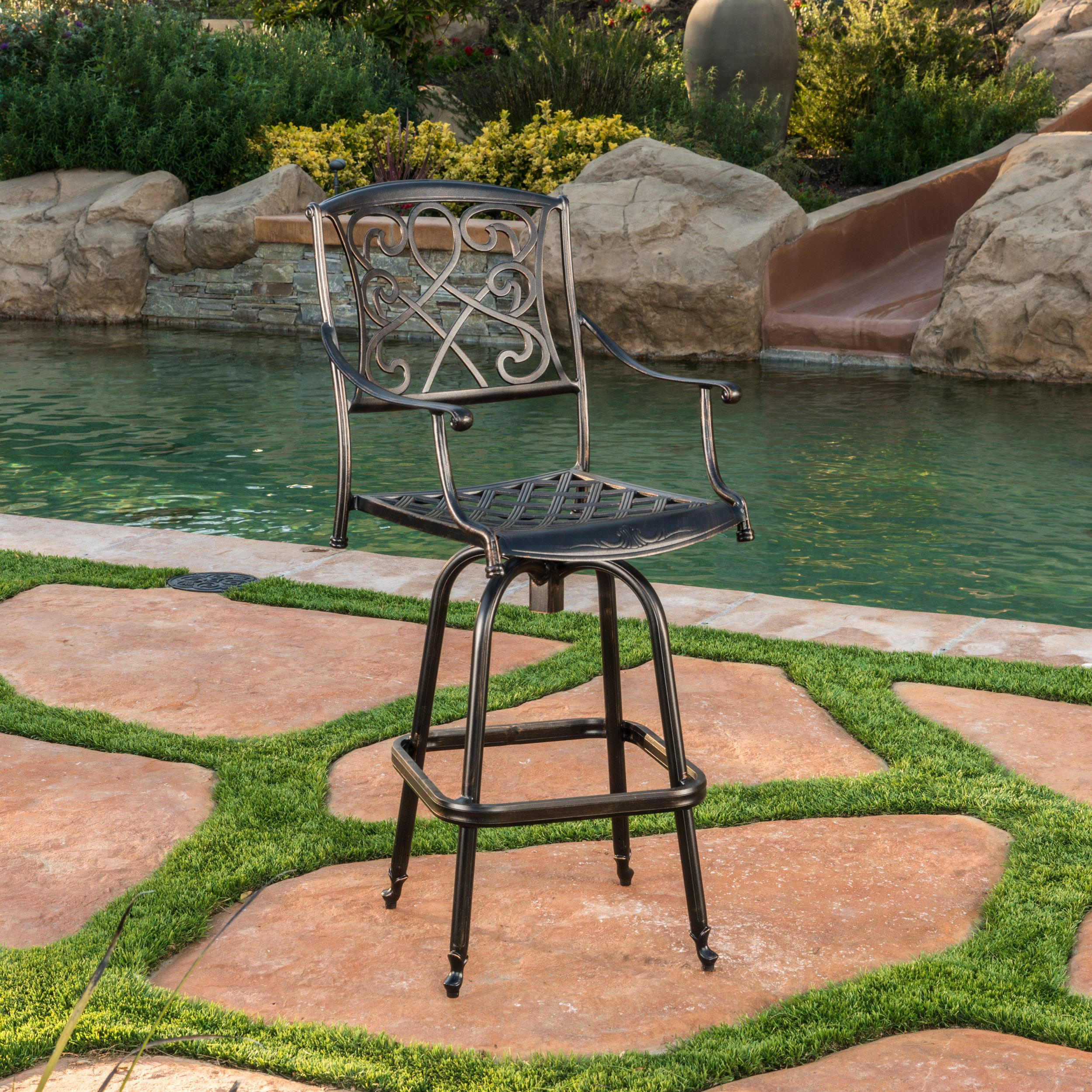 Paris Outdoor Cast Aluminum Bar Stool