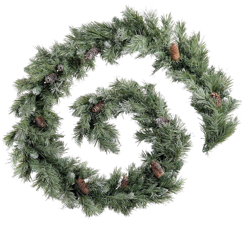 Werchristmas Scandinavian Blue Spruce Christmas Garland With Pine Cones 9 Feet Green