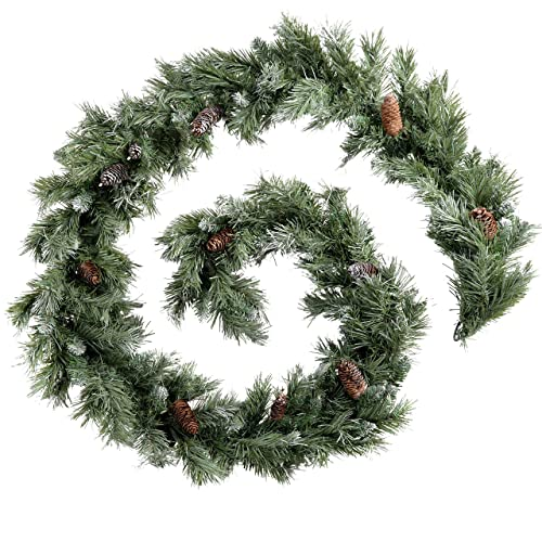 WeRChristmas Scandinavian Blue Spruce Christmas Garland with Pine Cones, 9 feet - Green