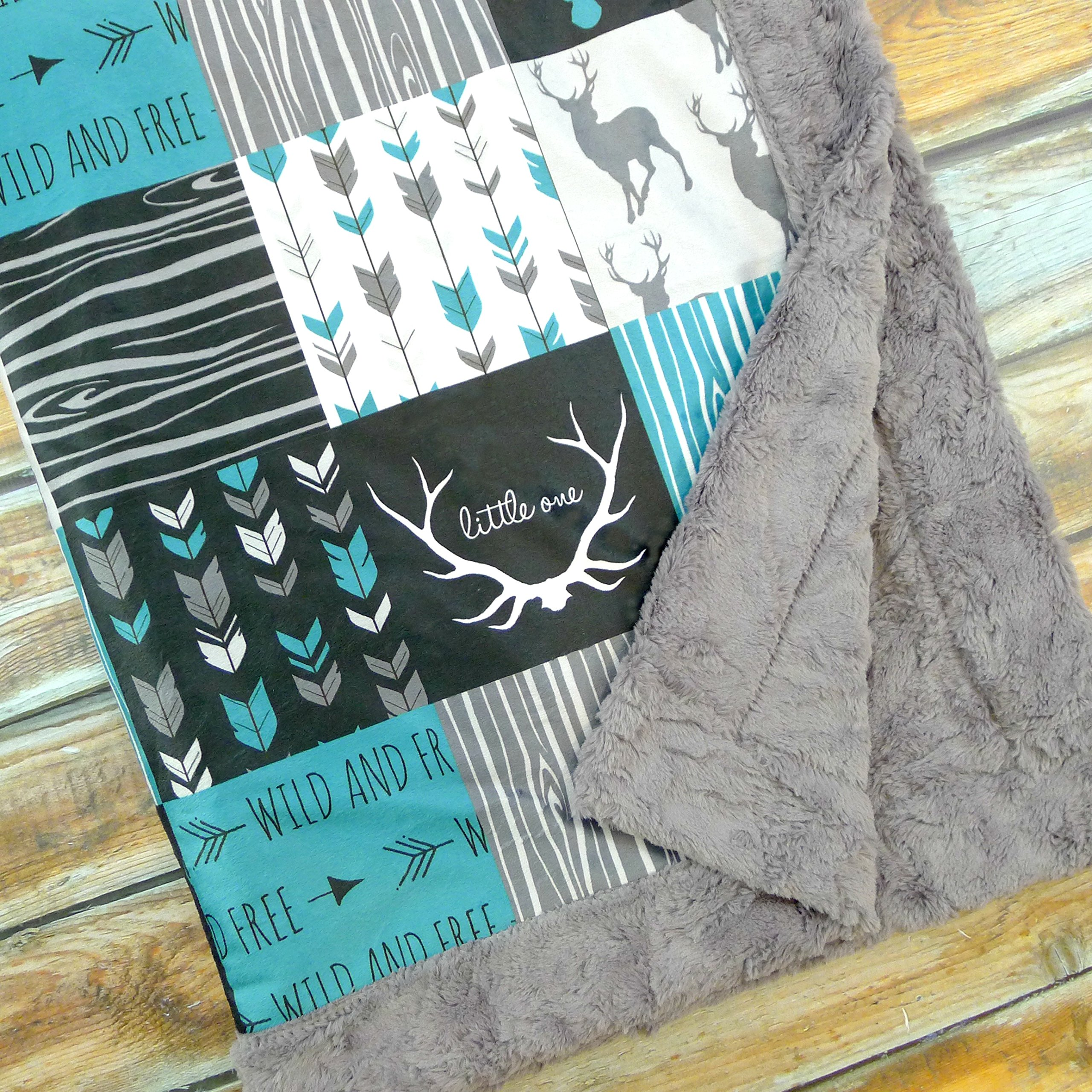Gender Neutral Baby Blanket with Deer Antlers and Little One Wild and Free Print