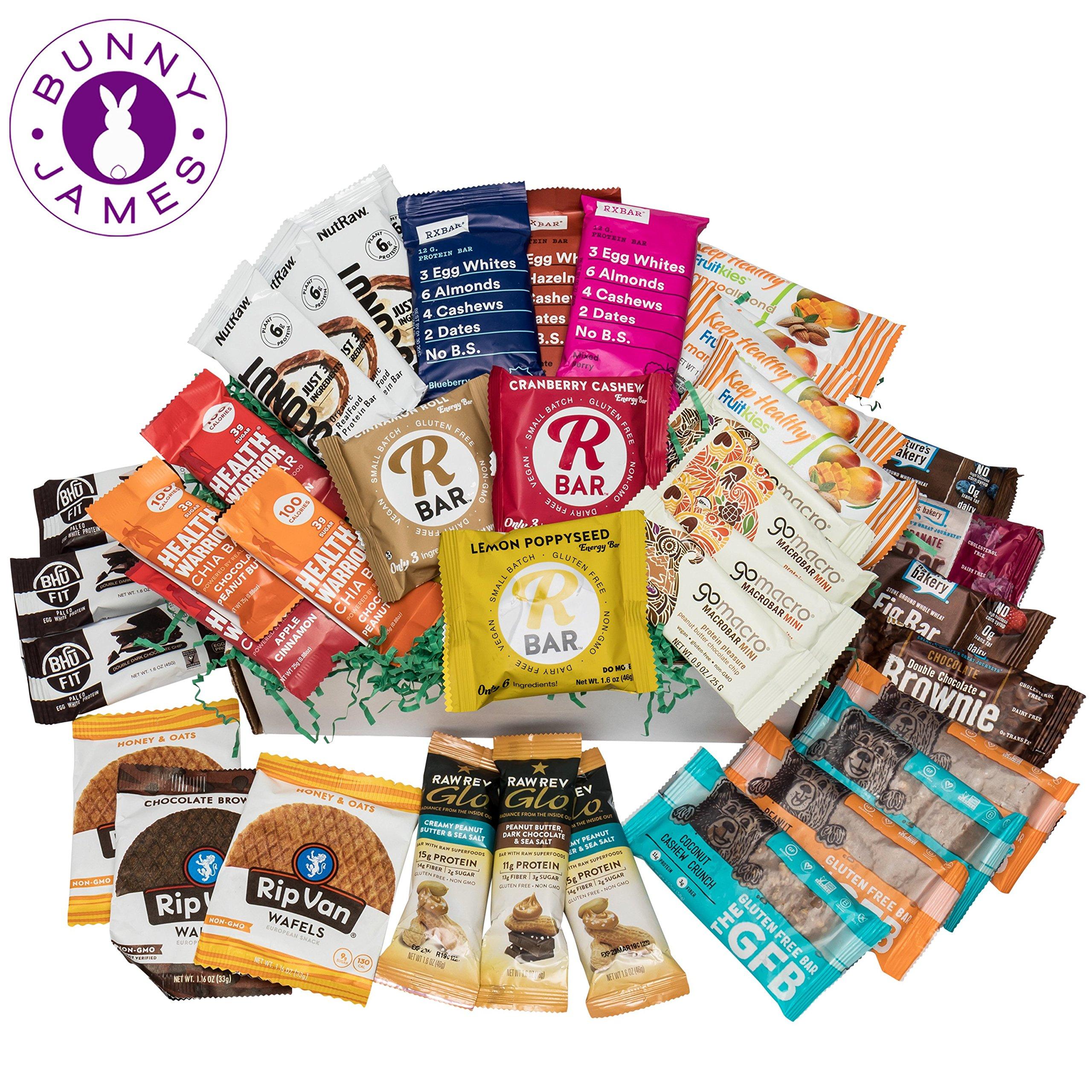 Healthy Snack Bars Sampler Box: Premium Mix Of Natural Organic Non-gmo High Protein Bars, Breakfast Bars, Energy Bars, Chia Bars, On The Go Snack Bars Variety Pack (40 Bars)