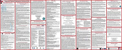 2019 Texas State and Federal Labor Law Poster Ultra-Wide  Heavy Duty, Water  Proof Laminated