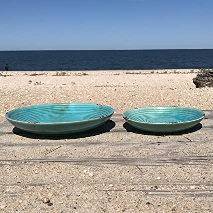 Whole House Worlds The Beach Chic Decorative Plates Artisinal Design Distressed Blue Turquoise & Amazon.com: Whole House Worlds The Beach Chic Decorative Plates ...