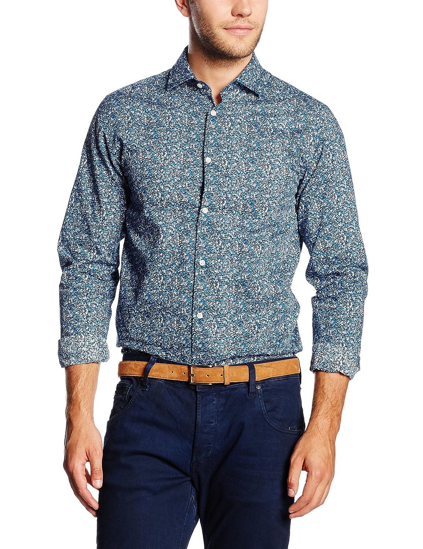 Jjprseth Shirt L/S Plain, Chaqueta de Traje para Hombre, Multicolor (Navy Blazer Detail:AOP/Slim FIT), Large (Talla del Fabricante: Large (L) Premium by Jack & Jones