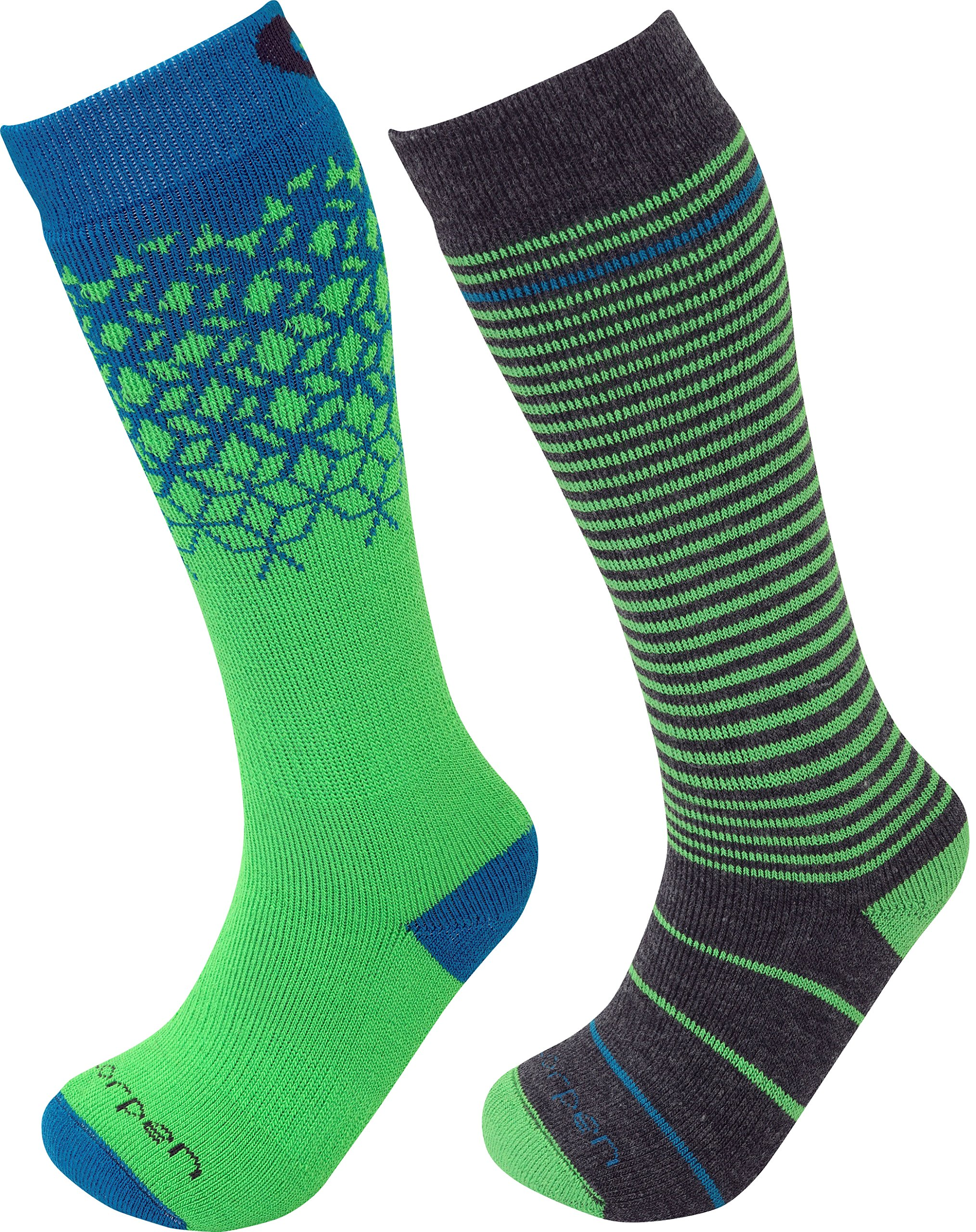 Lorpen Unisex Youth T2 Kids Merino Ski Socks-2 Pack, Green, X-Small by Lorpen