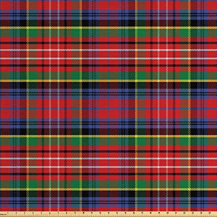 Ambesonne Plaid Fabric The Yard, Caledonia Scottish Traditional Pattern  Tartan Motif Abstract Squares Ornate Quilt, Decorative Fabric Upholstery  Home