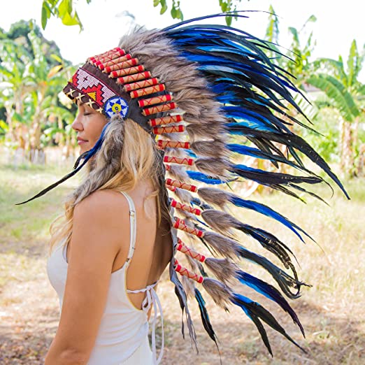 Indian Style Headdress | Native American Style Headdress | Medium | Blue