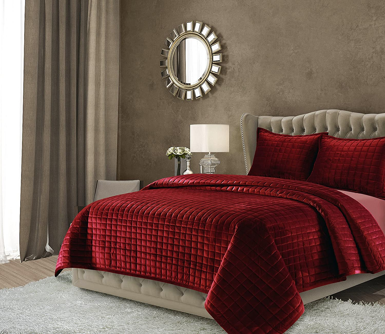 Velvet Oversized Solid Quilt Set, Queen, Burgundy