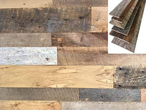 10.2 Square Feet Assortment of Wood Including Walnut Mineral Poplar and Ash White Oak Easy to Install Vintage Harvest Premium Artisan Wood Wall Planks Cherry