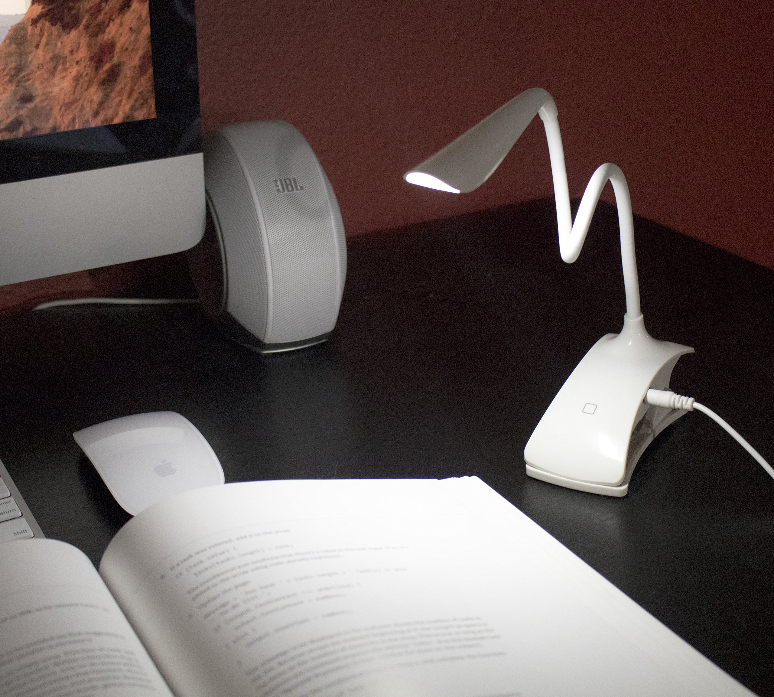 Clip-on Book Light Reading Lamp, Portable Table Light, Adjustable Led Clip Light, Anti Glare Reading Light, USB Rechargeable Computer Desk Lamp, White Daylight Bed Light. by Tesoro Wholesale™ (Image #4)