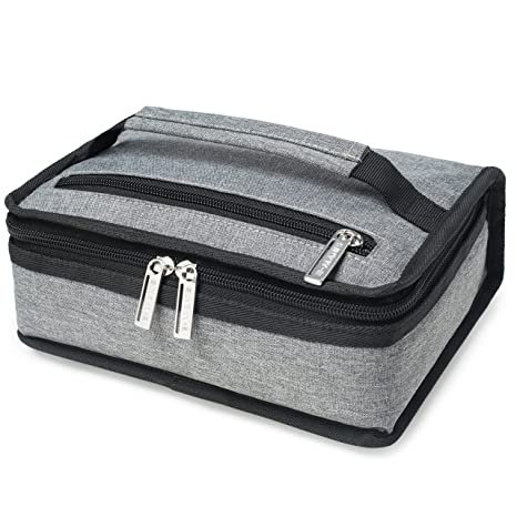 e8d536dbb408 E-MANIS Insulated Lunch Bag Adult lunch box Collapsible Multi-Layers  Thermal Insulated Oxford Lunch Tote cooler bag for men, women (grey)
