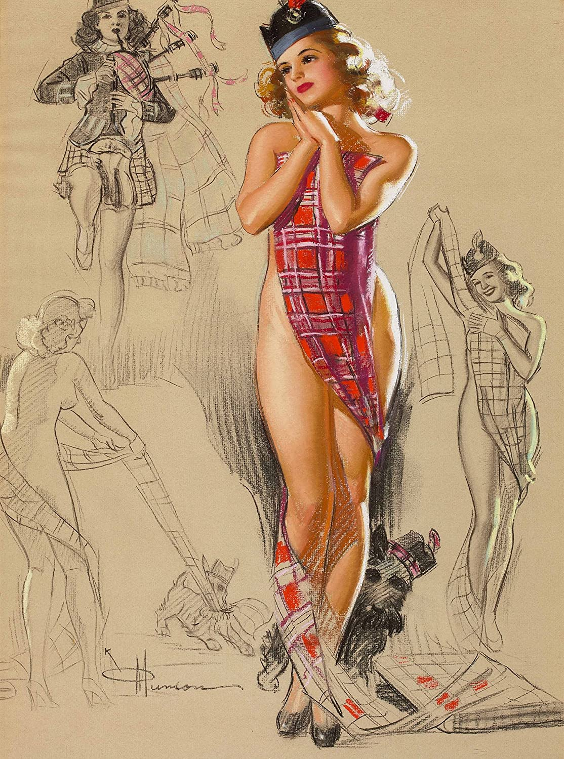 1940's Pin-Up Girl Plaid Tartan Wee Scottish Lassie & Scottish Terrier Dog Scotland Knute Munson Vintage Home Pin Up Collectible Wall Decor Art Poster Picture Print. Measures 10 x 13.5 inches