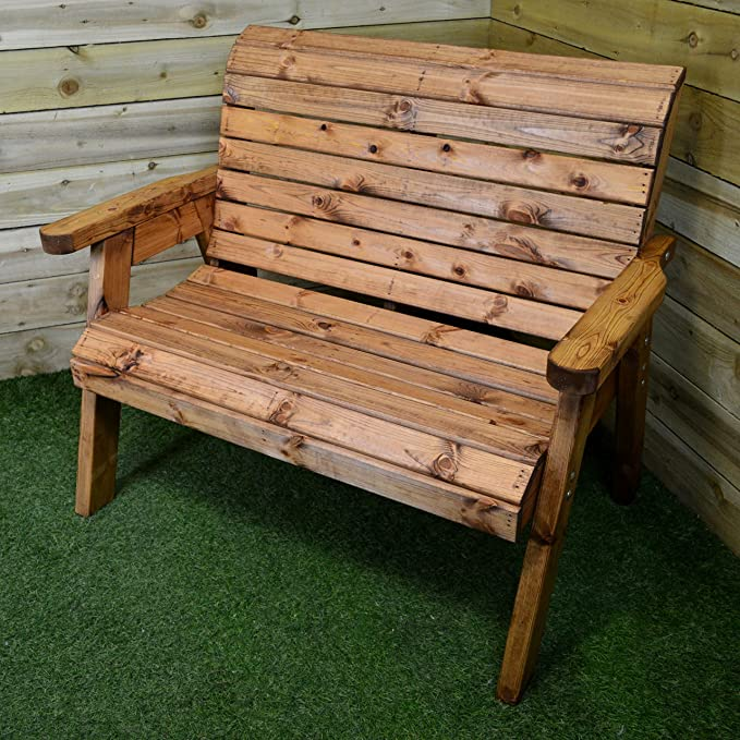 165cd0a277123 Charles Taylor Trading Hand Made Traditional 2 Seater Chunky Rustic Wooden Garden  Bench Furniture: Amazon.co.uk: Garden & Outdoors