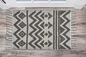 Chardin Home – Catalina Rug– 100% Recycled Polyester Fiber Indoor/Outdoor Area Rug.Color: White-Lt. Gray (21''x34'')