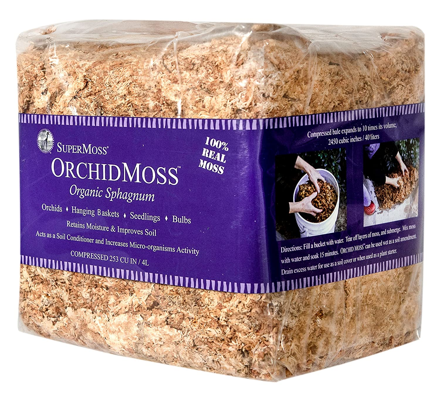 SuperMoss (22325) Orchid Sphagnum Moss Dried, Natural, 1lb Mini Bale 7 59834 22325 2