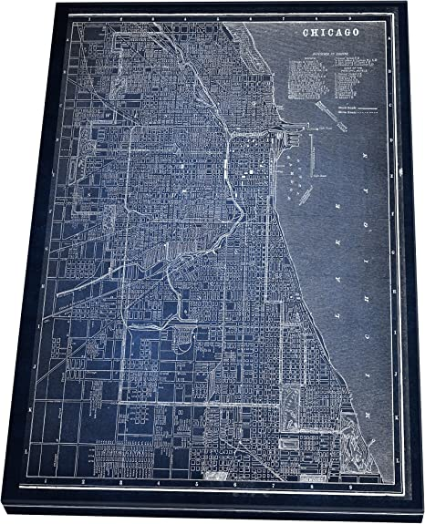 Map on canvas Framed wall poster Chicago map poster Poster Cities Map Chicago city Custom Wall Art Custom frame map Chicago city map