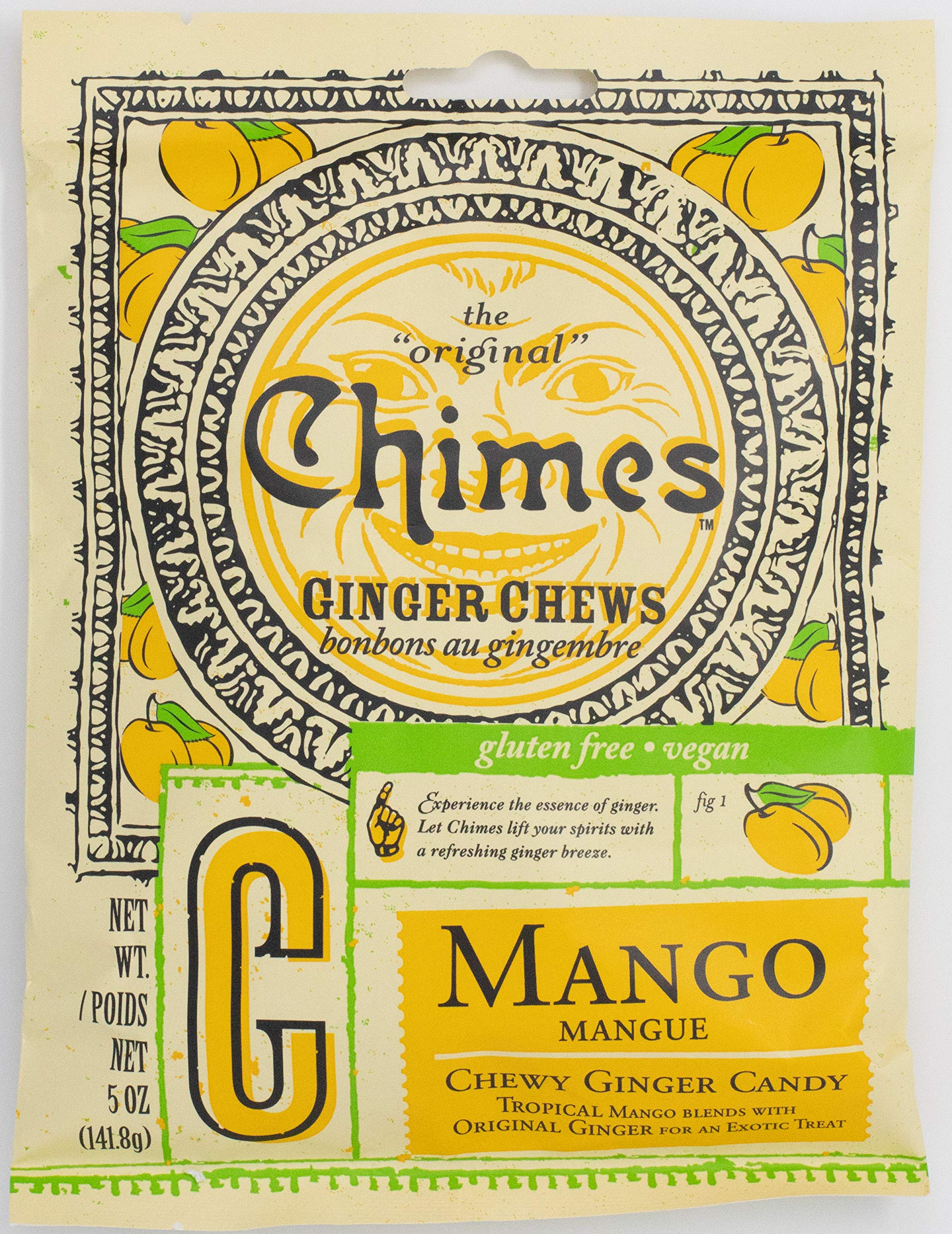 Chimes Mango Ginger Chews (candies), 5-Ounce Bags (Pack of 80) by Chimes