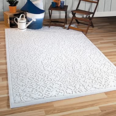 Orian Rugs Boucle Collection 397086 Indoor/Outdoor High-Low Biscay Area Rug, 7'9  x 10'10 , Natural Ivory