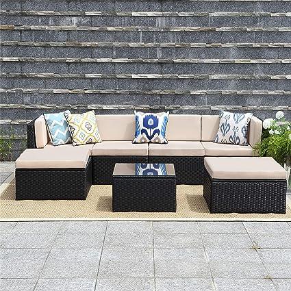 Wisteria Lane 7 Pcs Outdoor Furniture SetsPatio Sectional Sofa Couch Conversation Sets Garden Rattan & Amazon.com: Wisteria Lane 7 Pcs Outdoor Furniture SetsPatio ...