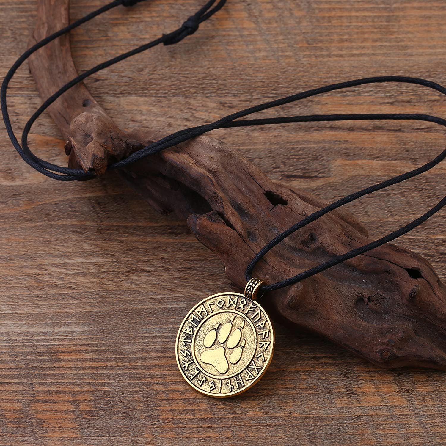LIKGREAT Slavic Viking Celtic Wolf Claw Bear Paw and Runes Round Pendant Necklace for Men