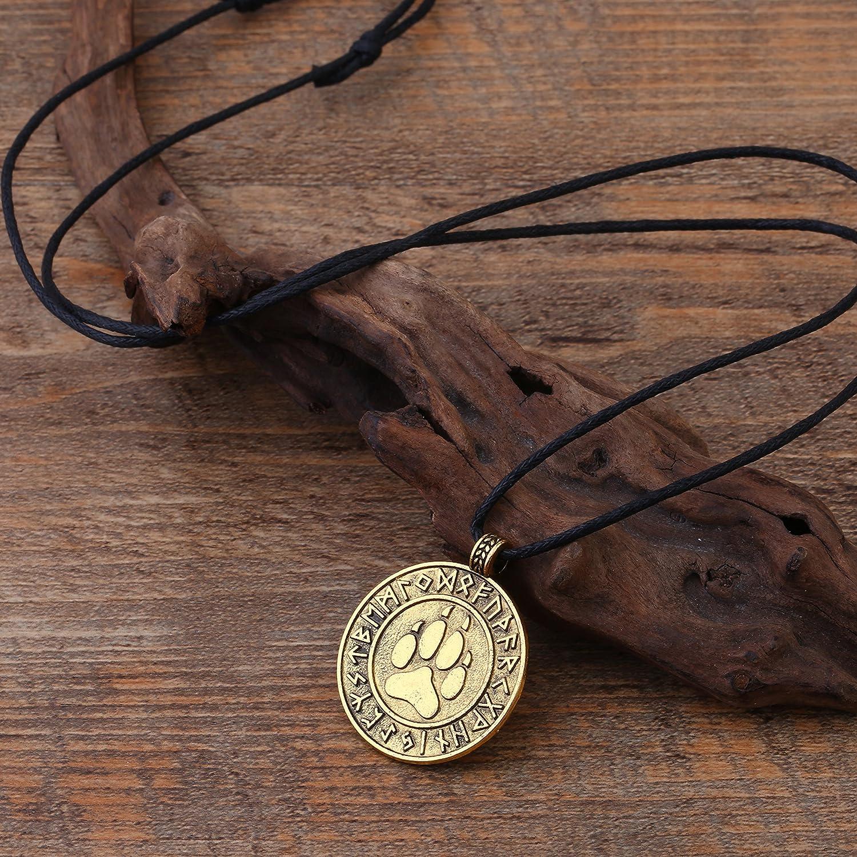 in lega Collana con ciondolo gioielli stile nordico e vichingo amuleto con zampa di orso e rune