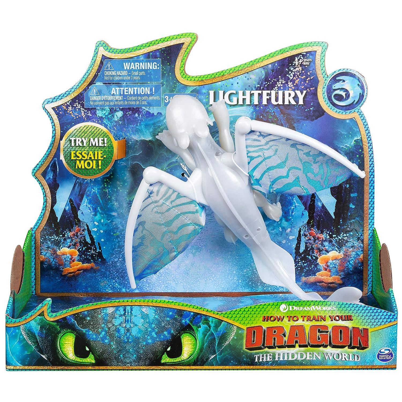 Dragons - Movie Line - 6052264 - Deluxe Dragons - Lightfury (Solid) mit Licht- und Soundeffekten, Actionfigur, Drachenzähmen leicht gemacht 3, Die geheime Welt Spin Master