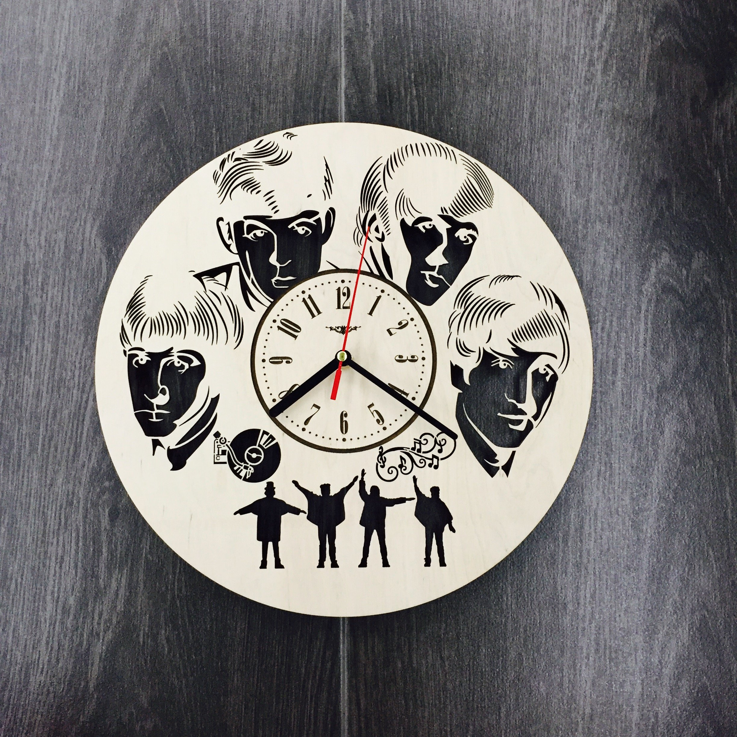 Beatles Wall Clock Made of WOOD - Perfect and Beautifully Cut - Decorate your Home with MODERN ART - UNIQUE GIFT for Him and Her - Size 12 Inches