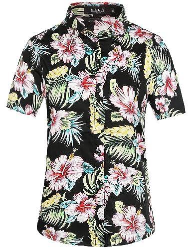 SSLR Camisa para Mujer Verano Blusa Manga Corta Casual Aloha Hawaiana