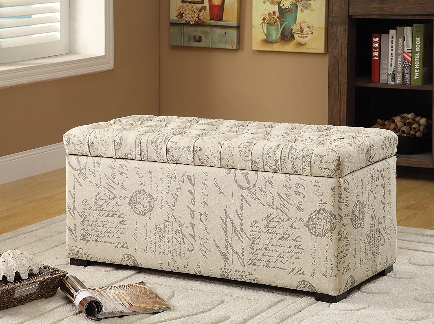 Amazon.com: Avenue Six AVE SIX Sahara Tufted Storage Bench With Slam Proof  Hinges, Script Fabric: Kitchen U0026 Dining