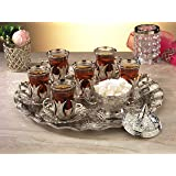 HIGH END Silver plated Tea Service Set for 6 - Made in Turkey - 21 pieced METAL set including tray and sugar bowl with lid in Gift Box, Silver