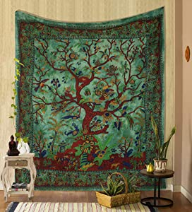 THE ART BOX Tapestry Green Tree of Life Wall Hanging Psychedelic Tapestries Indian Cotton Twin Bedspread Picnic Sheet Wall Decor Blanket Wall Art Hippie Bedroom Décor (Full, 85x90 Inch)