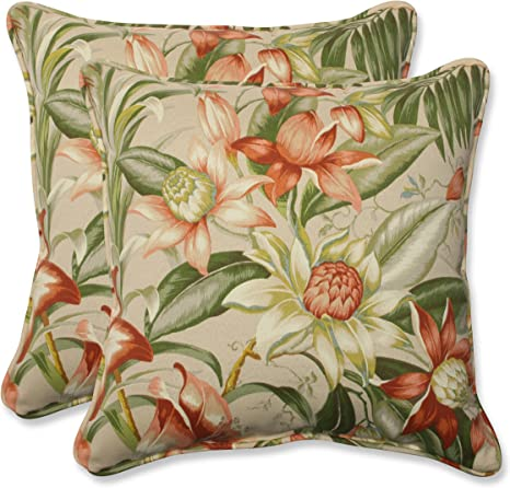 Amazon Com Pillow Perfect Outdoor Indoor Botanical Glow Tiger Stripe Throw Pillows 18 5 X 18 5 Floral 2 Pack Home Kitchen